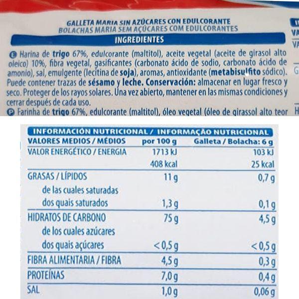 Galletas Maria sin azucar Mercadona ingredientes y informacion nutricional