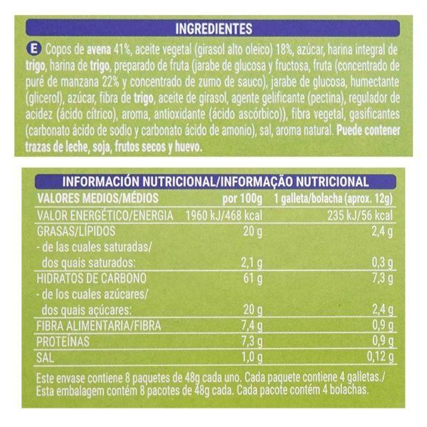 Galletas avena y manzana Mercadona ingredientes y información nutricional