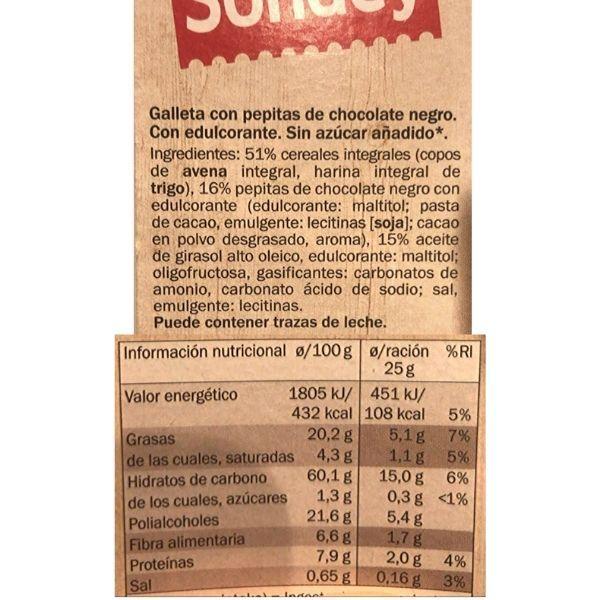 Galletas con pepitas de chocolate sin azucar Lidl ingredientes y información nutricional