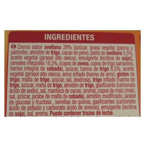 Galletas con crema de avellana Mercadona ingredientes