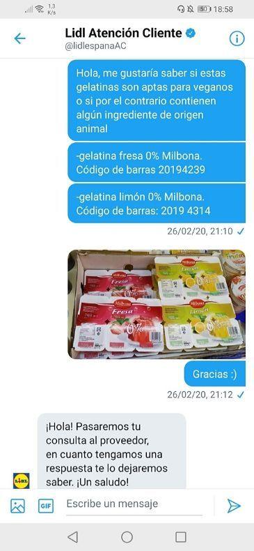 Gelatina vegana Lidl