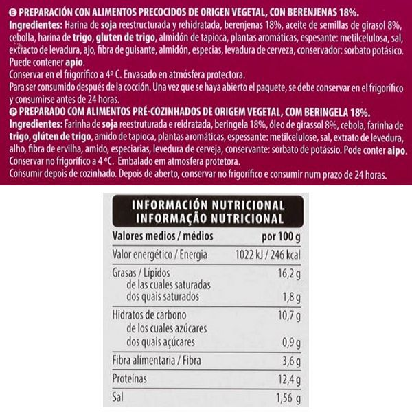 Hamburguesa berenjena Mercadona ingredientes y información nutricional