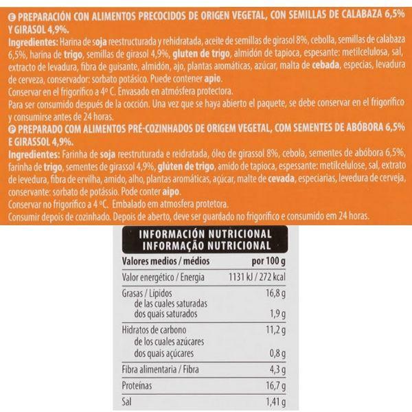 Hamburguesa vegana Mercadona ingredientes y valores nutricionales