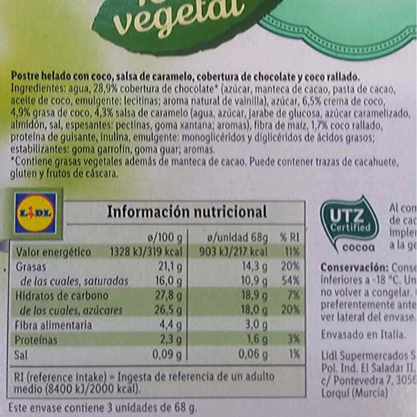 Helado caramelo y coco vegano Lidl ingredientes y información nutricional