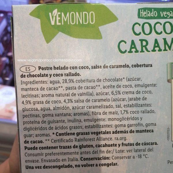 Almendrado coco y caramelo vegano Vemondo Lidl ingredientes