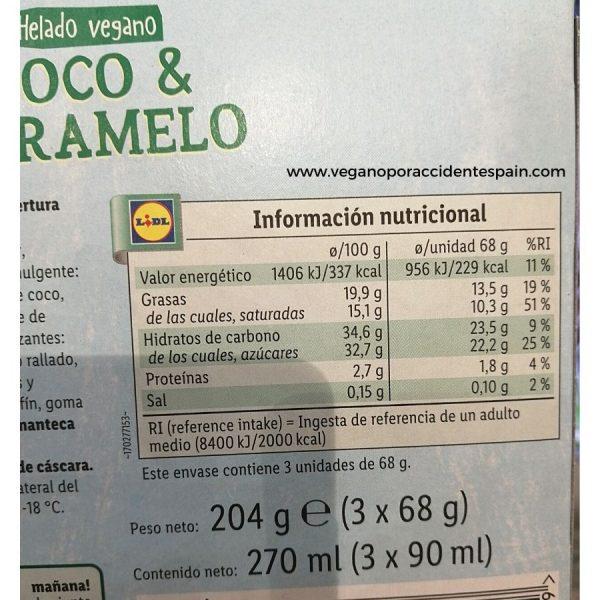 Almendrado coco y caramelo vegano Vemondo Lidl informacion nutricional