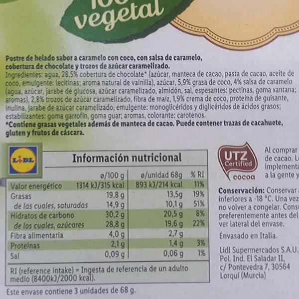 Helado caramelo vegano Lidl ingredientes y información nutricional