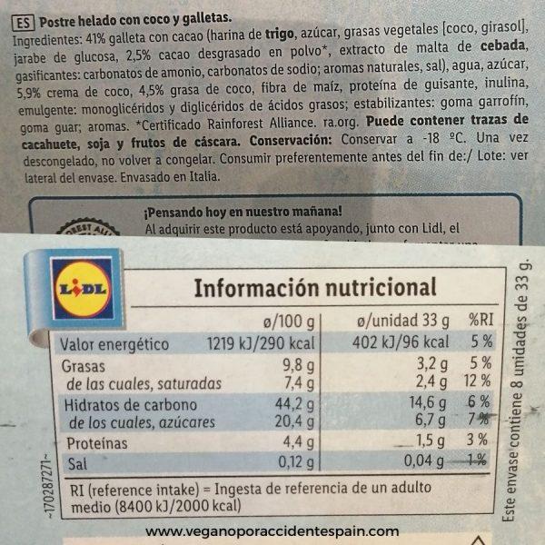 Sandwich helado vegano Vemondo Lidl ingredientes e informacion nutricional
