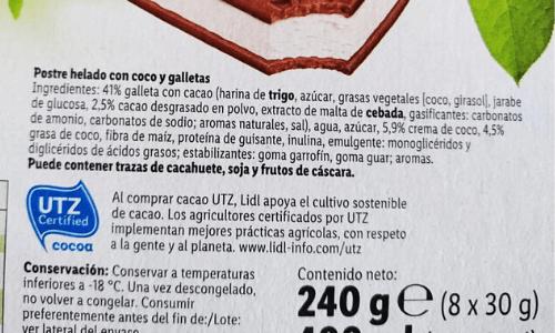 Helado sandwich vegano Lidl ingredientes