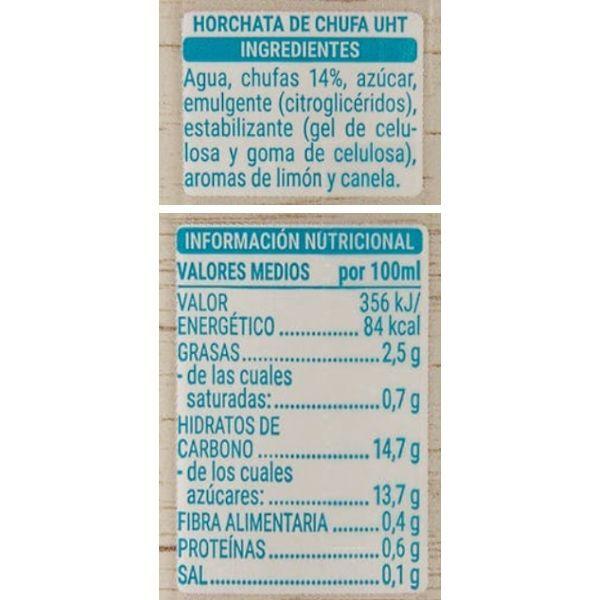 Horchata Mercadona ingredientes y valores nutricionales