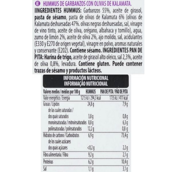 Hummus con olivas Kalamata Mercadona ingredientes