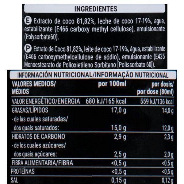 Leche de coco ingredientes y información nutricional