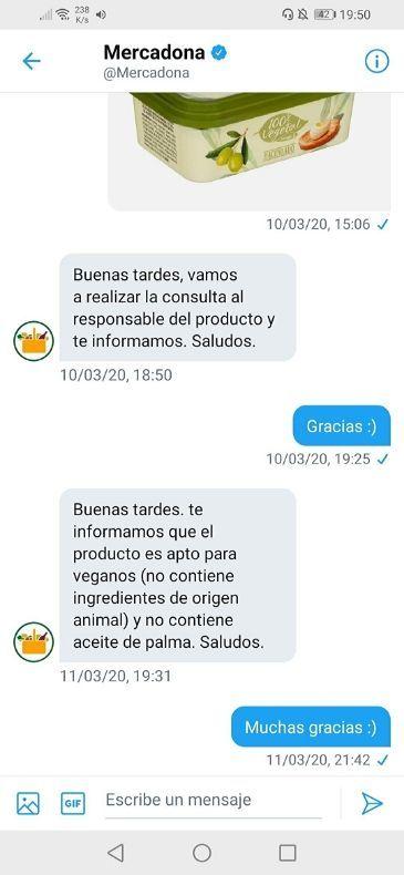 Margarina sin palma Mercadona