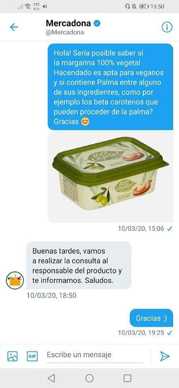 Margarina sin lactosa Mercadona