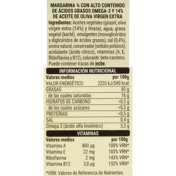 Margarina vegetal Mercadona ingredientes y información nutricional