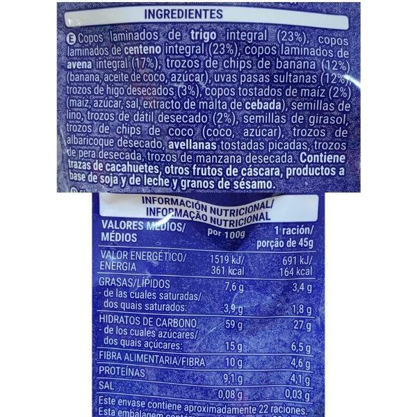Muesli con fruta Mercadona ingredientes y información nutricional