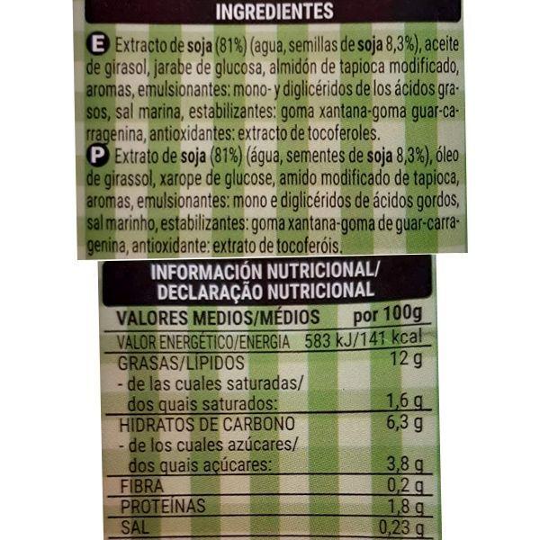Nata de soja Hacendado Mercadona ingredientes y valores nutricionales