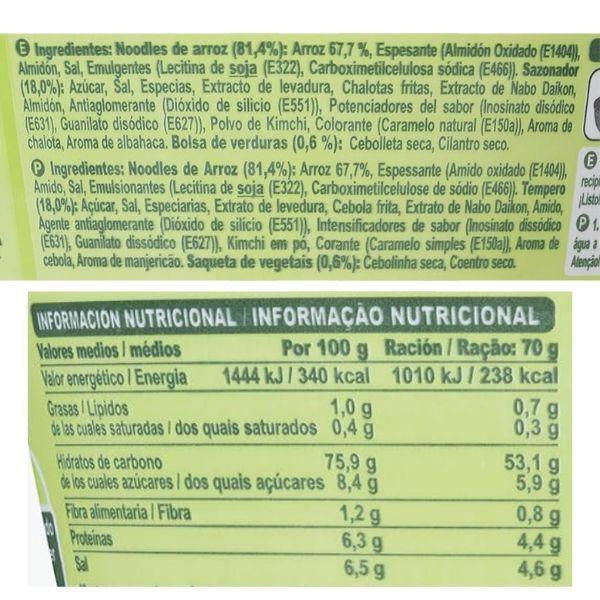 Noodles vegetales Mercadona ingredientes e información nutricional