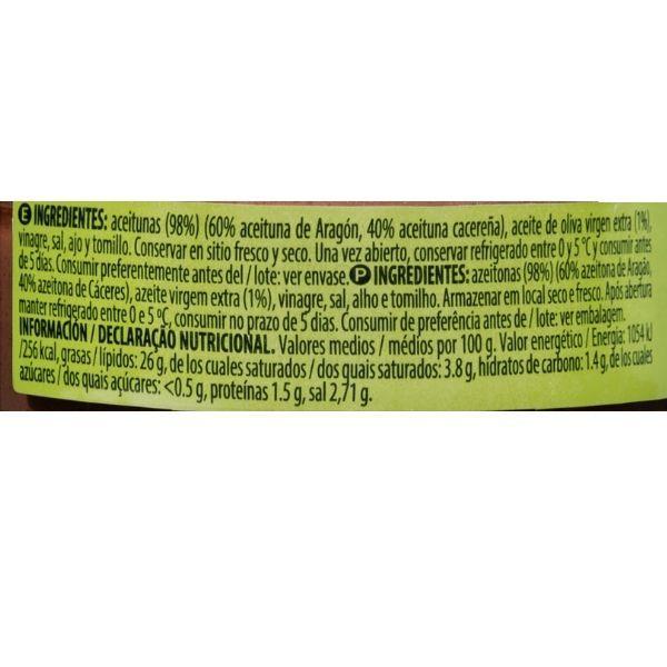 Olivada Mercadona ingredientes y información nutricional