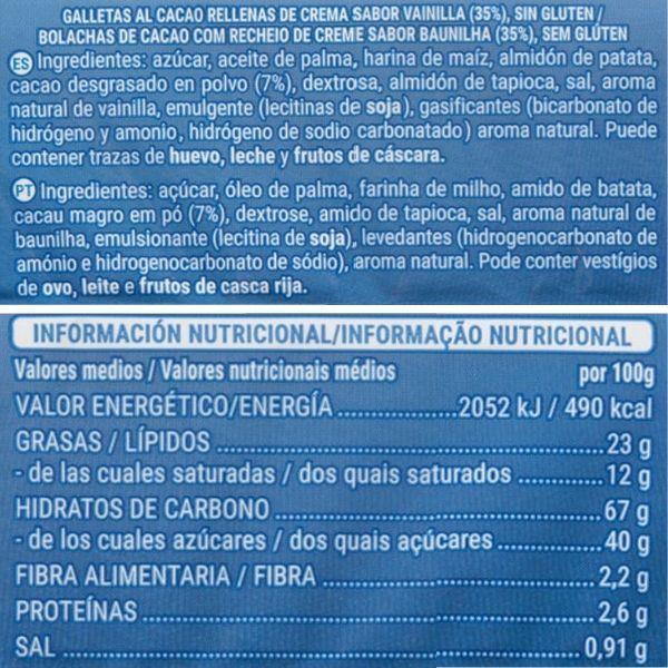 Oreo sin gluten Mercadona ingredientes y valores nutricionales