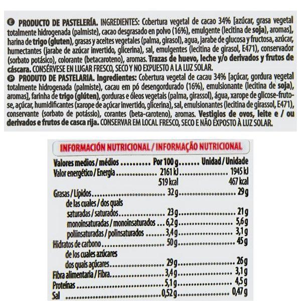 Palmera de chocolate Mercadona ingredientes y informacion nutricional