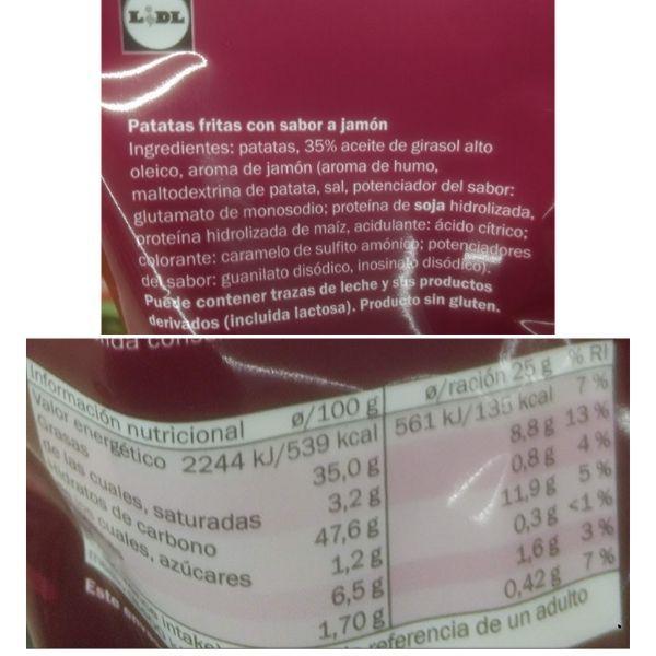 Patatas sabor jamón Lidl ingredientes y información nutricional