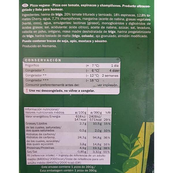 Pizza verduras vegana Lidl ingredientes y información nutricional