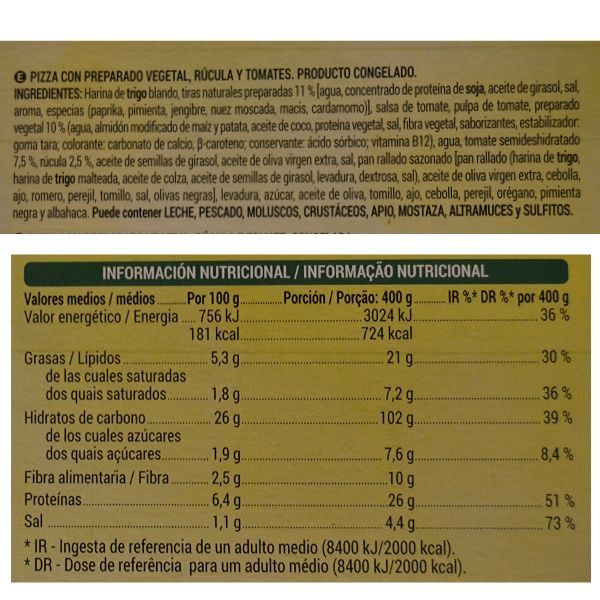 Pizza vegana Mercadona ingredientes