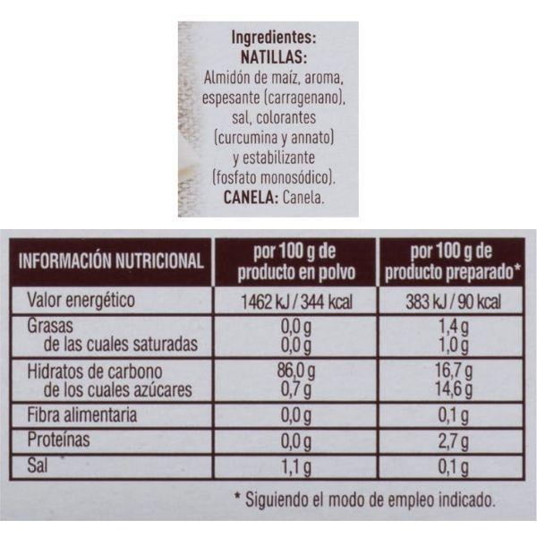 Preparado natillas Mercadona ingredientes y información nutricional
