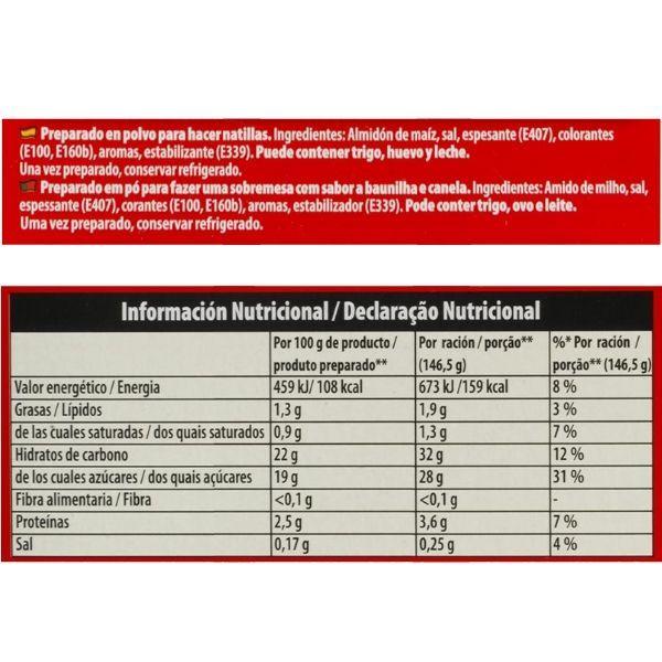 Preparado natillas Royal ingredientes y información nutricional