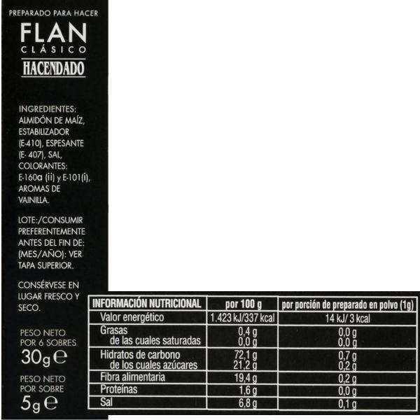 Preparado para flan clasico Mercadona ingredientes y información nutricional