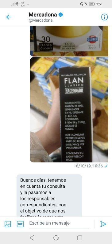 Preparado para hacer flan clásico Hacendado vegano