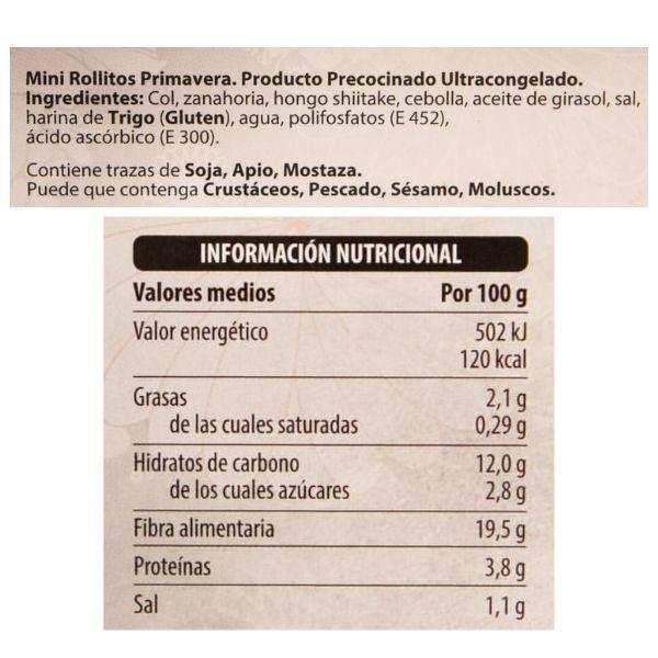 Rollitos con setas Mercadona ingredientes y información nutricional