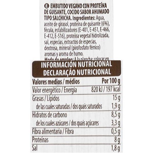 Salchichas veganas Mercadona ingredientes y información nutricional