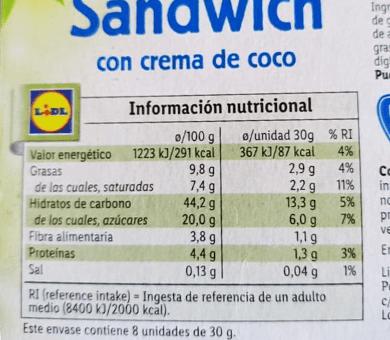 Sandwich vegano Lidl informacion nutricional