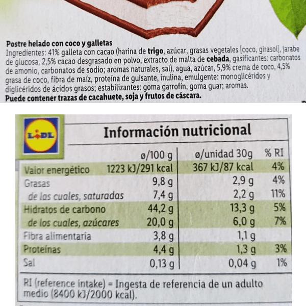 Sandwich vegano Lidl ingredientes y información nutricional