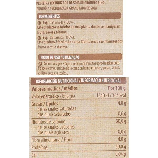 Soja texturizada Mercadona ingredientes y valores nutricionales