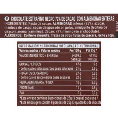 Chocolate 72% con almendras Hacendado (Mercadona)