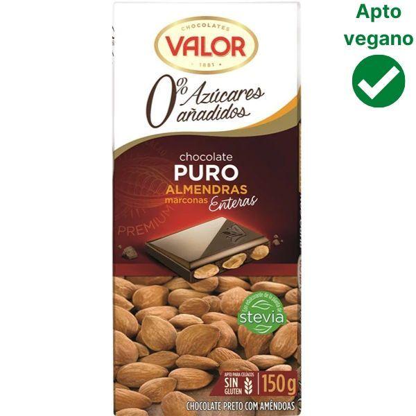 Chocolate con almendras sin azúcar Valor vegano