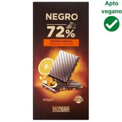 Tableta chocolate negro con naranja Hacendado (Mercadona)