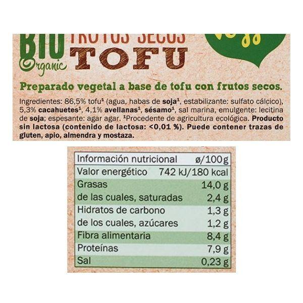 Tofu frutos secos Lidl ingredientes y informacion nutricional