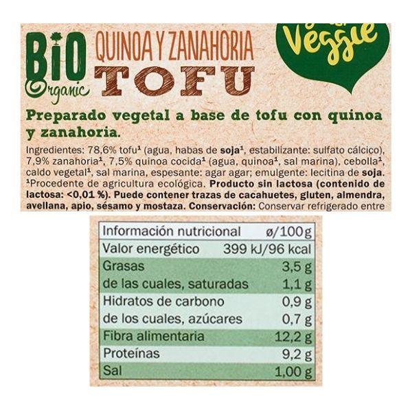 Tofu quinoa y zanahoria Lidl ingredientes y informacion nutricional