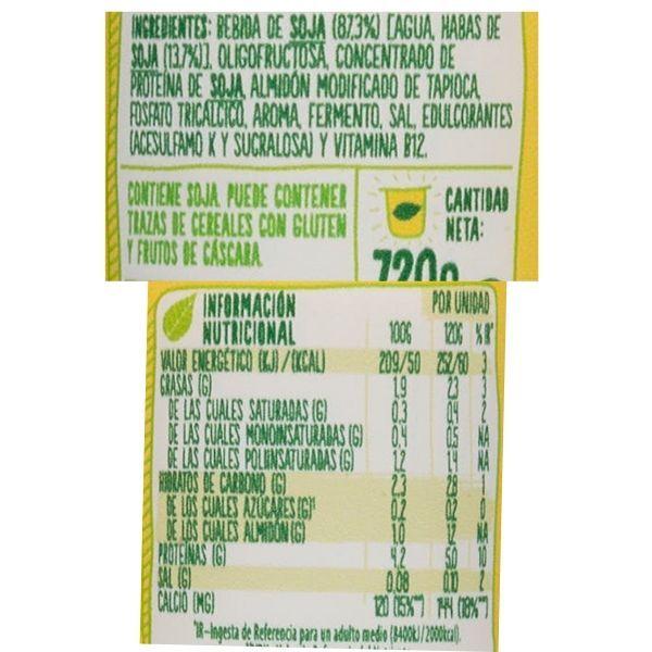 Yogur Savia sin azucar ingredientes y información nutricional