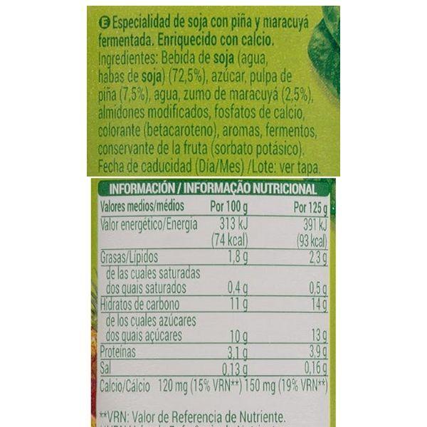 Yogur de soja con piña Mercadona ingredientes y información nutricional
