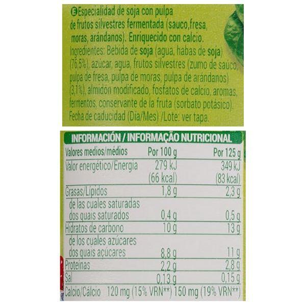 Yogur de soja y frutos rojos Mercadona ingredientes y información nutricional
