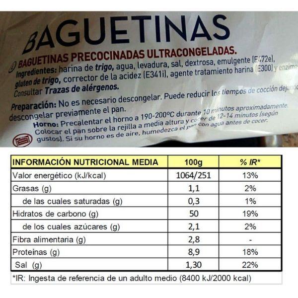 Baguettes Maheso ingredientes información nutricional