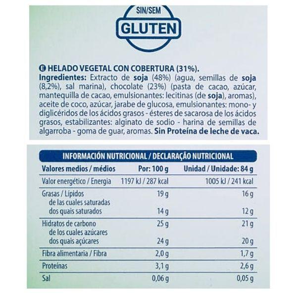 Bombón de soja y chocolate Mercadona ingredientes y información nutricional