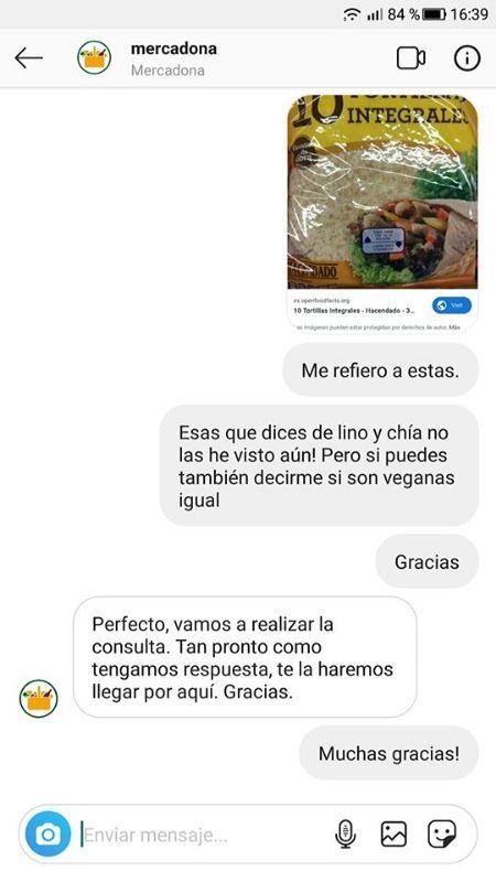 Tortillas integrales Mercadona aptas para veganos