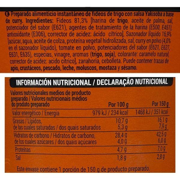 Fideos Yakisoba sabor curry Mercadona ingredientes e información nutricional