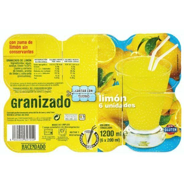 Granizado de limón Hacendado vegano